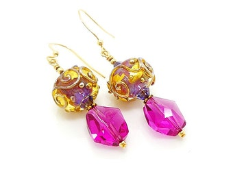 Pink Earrings, Lampwork Earrings, Glass Earrings, Glass Bead Earrings, Unique Earrings, Bright Earrings, Gold Filled Earrings