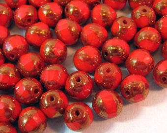36 Bicolor Fire Polished Red Czech Glass Beads 10 mm Round