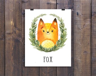 Fox - Printable Nursery Wall Art, Woodland Animals Playroom Decor, Forest Friends Children Gift, Kids Room Poster, Woodland Creatures Print