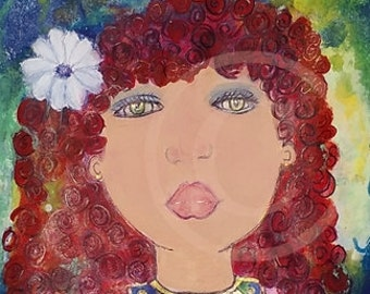 Acrylic Original Childrens Fine Art Purple Heart Red Curly Hair Girl Art Hazel Eyes Red Curly Hair Blue Gold Lavender Purple White Flower