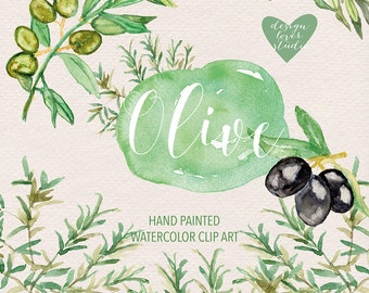 Watercolor Olive clipart, Green leaf clipart, Floral Clipart, Leaf clipart,  Wedding Clip Art, olive clip art