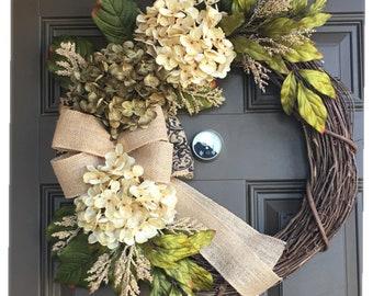 Hydrangea wreath for front door , front door wreath , spring wreath, summer wreath , everyday wreath with burlap bow , Year round wreath