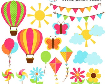 Summer Days Clipart Set - clip art set of summer items, balloons, butterflies, sun - personal use, small commercial use, instant download