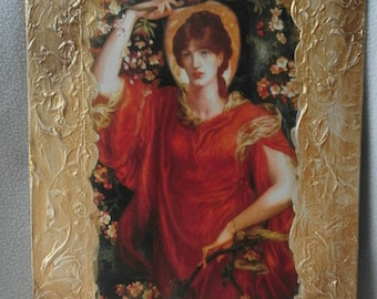 Painting in decoupage, painting with decoupage paper, gilded plaster frame, vintage style painting, vintage decoupage