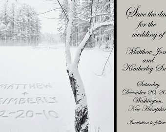Winter Tree Personalized Printable Save the Date Card- Your Names Written in the Snow