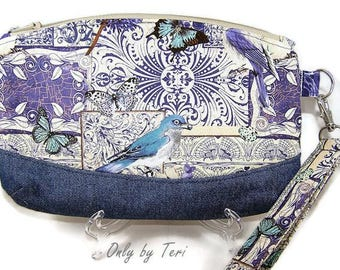 Blue Bird and Butterfly Clematis Wristlet/Clutch