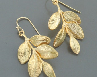 Gold Earrings - Leaf Earrings - Dangle Earrings - Nature Jewelry - handmade jewelry