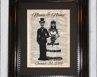 Day Of The Dead Custom Wedding, Dictionary Art Print, Upcycled Book Art, dictionary page Wall Decor, Wall Hanging, Mixed Media Art
