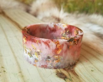 Red and White Resin Cuff Bangle
