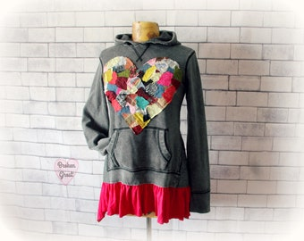 Boho Sweatshirt Heart Hoodie Upcycled Clothing Hippie Festival Rustic Art Wear Urban Street Style Grunge Clothes Patchwork Hoodie S 'KALEIGH