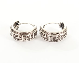 Sterling Silver Small Oxidised Hooped Earrings with A Greek Style Design