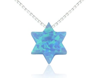 Star of David Opal Necklace on a .925 Sterling Silver Fancy Chain • Waterproof • The Perfect Sweet Judaica Gift For Her