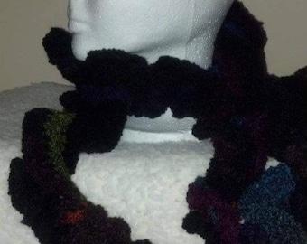 Crocheted Multi Color Ruffle Scarf