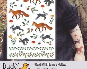 """Temporary tattoos """"Fox and Rabbit"""" with cute walfdorf woodland forest animals: bunny and red fox. Forest and woodland paty favors. TA056"""