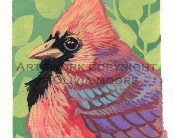 Cardinal Bird Art - Original Watercolor Painting - Original Bird Wall Art - Woodland Home Decor - Colorful Art