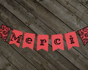 Merci banner, French banner, Thank you banner,Corral banner, Wedding photo prop, Baby thank you