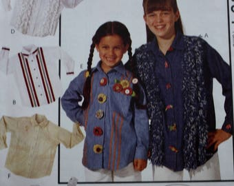 Girls Shirt Pattern, McCalls 6894 Sewing Pattern, UNCUT  Size 10-12-14