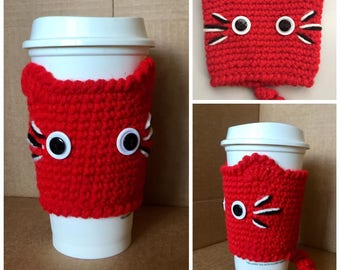 Crochet CAT Coffee Cup Cozy, Kitty Cup Warmer RED Hand made cat cup cozy