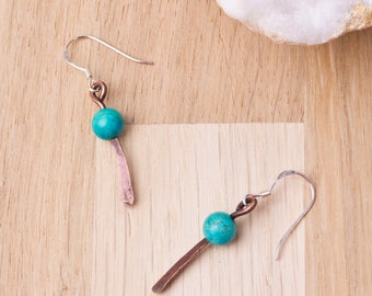 Copper Turquoise earrings - oxidized hammered copper spear turquoise gemstone dangle earrings | Rustic Copper jewelry | Unique Boho Earrings