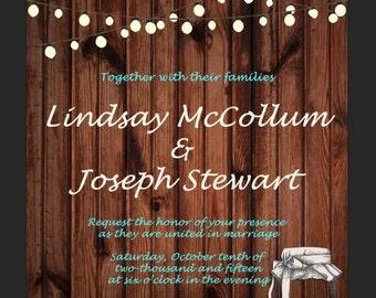 Rustic String Lights and Wood Wedding Invitation PDF