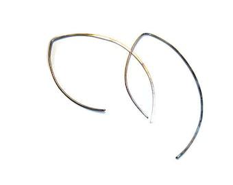 Forged.925  Sterling Silver Threader Earrings - Handmade - Hammered - Minimalist Earrings - Statement Earrings - Fine Jewelry