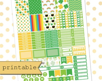 Printable Planner Stickers for use with Erin Condren Life Planner/St Patricks day/Weekly Planner Sticker Kit/Instant Download