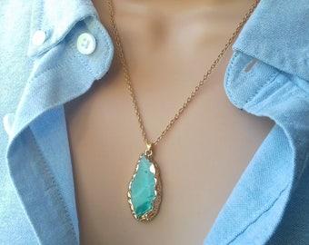 Agate Slice Necklace   Blue Agate Slice   blue agate necklace   boho necklace   agate pendant   blue necklace   gemstone necklace   stone