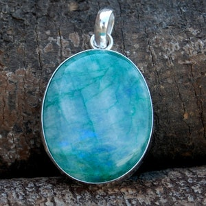 Oval Cab Green Rainbow Moonstone Gemstone sterling silver Pendant, Oval Cab Blue Green Moonstone silver Handmade Pendant Jewelry