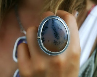 After Sunset - Dendritic Agate Sterling Silver Ring