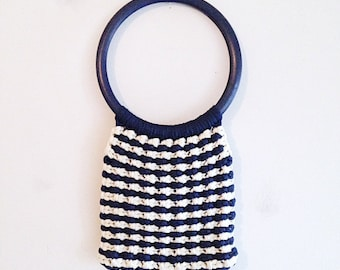 Vintage Nautical Navy and White Striped Crochet Bag Tote Purse