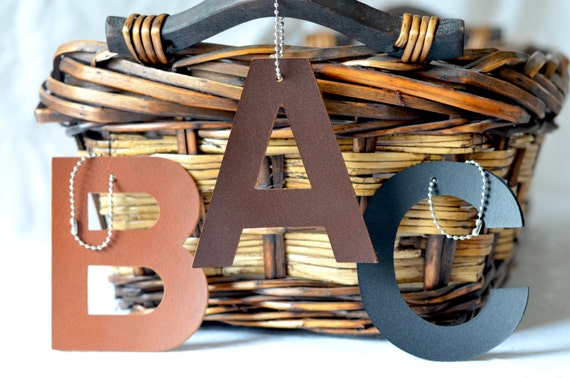 Leather Monogram Luggage And Basket Tags - in Chocolate Brown, Black, and Caramel Brown
