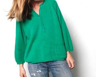 vintage KELLY GREEN faded scoop henley grunge 90s sweater women's vintage