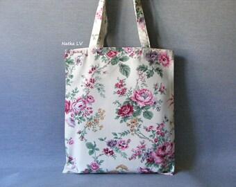 Floral tote bag, canvas shopping bag, cotton bag, bag with flowers, natural white grocery bag, summer bag, market bag, beach bag, bridal bag