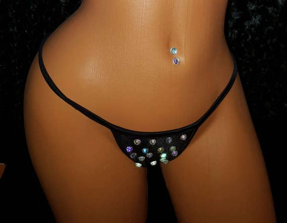 Simple Thong with or without Rhinestones Exotic-wear, Stripper Clothes, Pole Dancer thong,