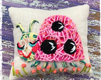 Spring Ladybug Hand Embroidery Mini Pillow Ready to Ship YelliKelli