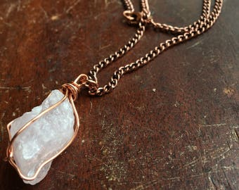 Rustic Copper Wrapped Rose Quartz Necklace