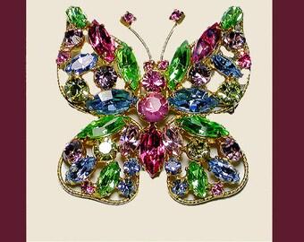 REGENCY butterfly brooch multi-color deep pink body. Signed REGENCY