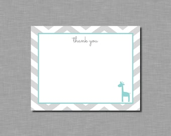 Giraffe Baby Shower Thank You Cards printable or printed aqua giraffe thank you cards aqua gray baby shower