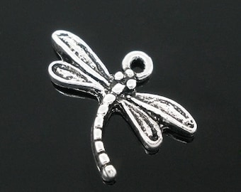Lot 5 Dragonfly charms silver 15 * 17 mm