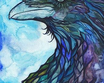Raven 8.5 x 11 print turquoise blue purple watercolour animal spirit totem bird magic painting nature wildlife watercolor crow art artwork