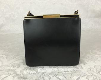 Vintage Black Patent Leather Accordion Top Handle Purse Clutch Handbag Bienen Davis P29