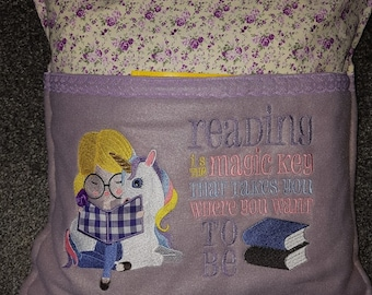 Unicorn reading Cushion.  With my choice of book.