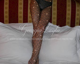 350 REAL CRYSTALS Black Fishnets Tights Pantyhose Kylie Jenner Swarovski Fishnet Crystallized Sparkly Sparkle Crystal
