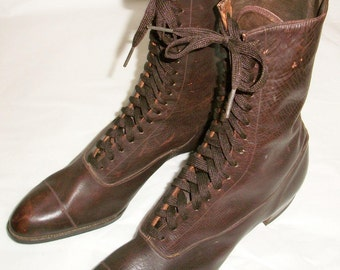 Brown Lace-Up Victorian Shoes - Old Store Stock
