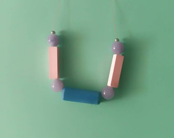 minimal geometric necklace pink and blue rectangles