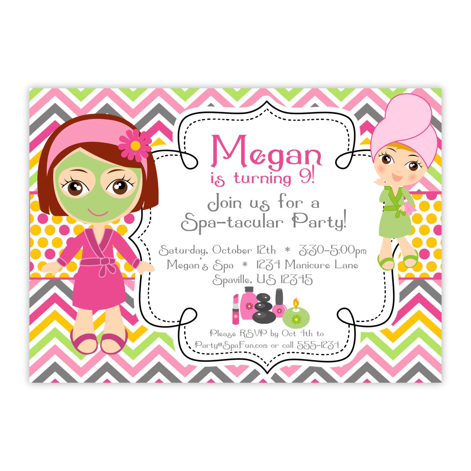 Spa Party Invitation Pink Orange Chevron Polka Dots