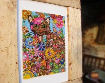 Mosaic Cat Unique art framed