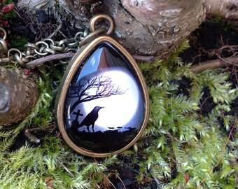 Teardrop Silhouette Crow design Pendant