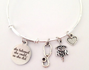 Nurse RN Adjustable Bangle Bracelet, Bangle Charm Bracelet,  Gift For Her, Stacking Bangle