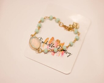 Mint rosary chain bracelet with opal accent pendant